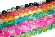 6mm multi-colour crackled glass beads